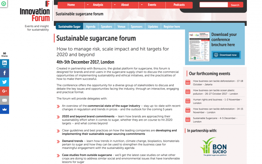 Sustainable Sugarcane Forum – How to manage risk, scale impact and